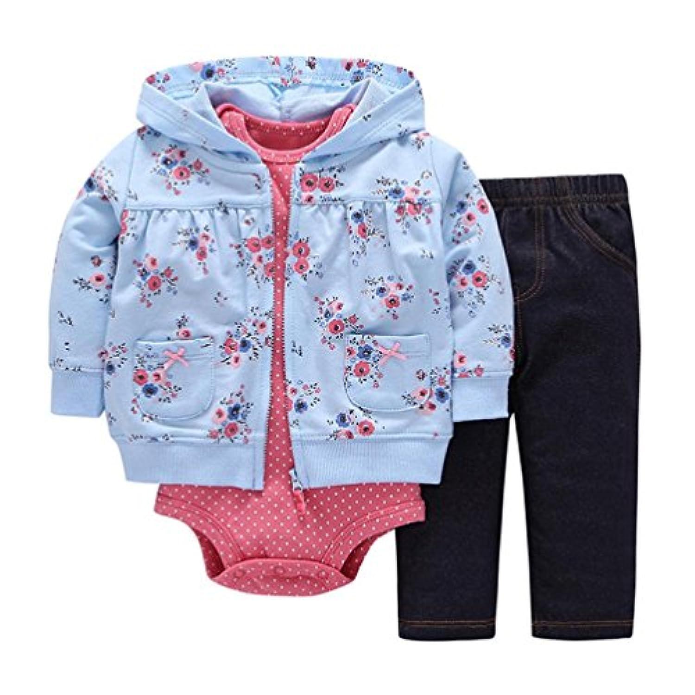 3点セット(上着+ロンパース+パンツ) かわいい 桃の花 プリント ベビー服 女の子 赤ちゃん服 幼児 子供服 女の子 フード付き 長袖 5サイズ キッズ服 ロンパース カバーオール 満月/出産祝い/プレゼント60CM-70CM-80CM-90CM-100CM(6ヶ月-24ヶ月) (80CM/12ヶ月, 写真のように)