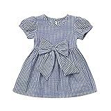 杜屋トヤ 赤ちゃん、半袖、ストライプ、プリント 蝶結び ドレス、スカート かわいいデザイン 気持ちいい 可愛い カジュアル 赤ちゃん プリンセス ピンク、ブルー70 80 90 100