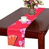 LKCDNG テーブルランナー 赤い きれい 和風の花 クロス 食卓カバー 麻綿製 欧米 おしゃれ 16 Inch X 72 Inch (40cm X 182cm) キッチン ダイニング ホーム デコレーション モダン リビング 洗える