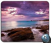 パープルスカイビーチカスタマイズマウスパッド長方形マウスパッドゲーミングマウスマット