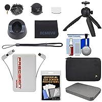 Removu k1マイクアクセサリキットwith 2Windscreens、充電クレードル、レンズカバー、ストラップ、LCDプロテクター&布+電源銀行+三脚+ケースキット