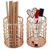 銅 ローズゴールド ペン立て, 古典的なペン オーガナイザー鉄製デスク オーガナイザー多機能女の子化粧品ホルダー-ローズゴールド 3.2 * 3.2 * 4.1 inch