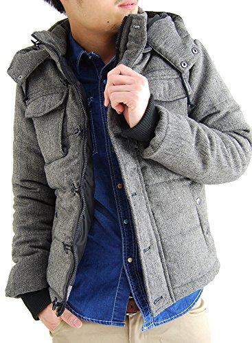 (アーケード) ARCADE 中綿 ダウンジャケット メンズ 秋冬 2WAY ツイード中綿ジャケット L ミックスチャコール