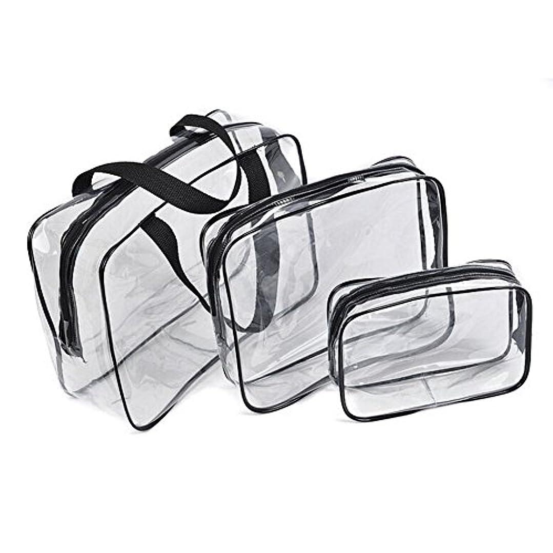 防ぐ第三人種化粧品袋,SODIAL(R)ホット 3透明な化粧バッグ PVC旅行用 ウォッシュ化粧ポーチ(黒)