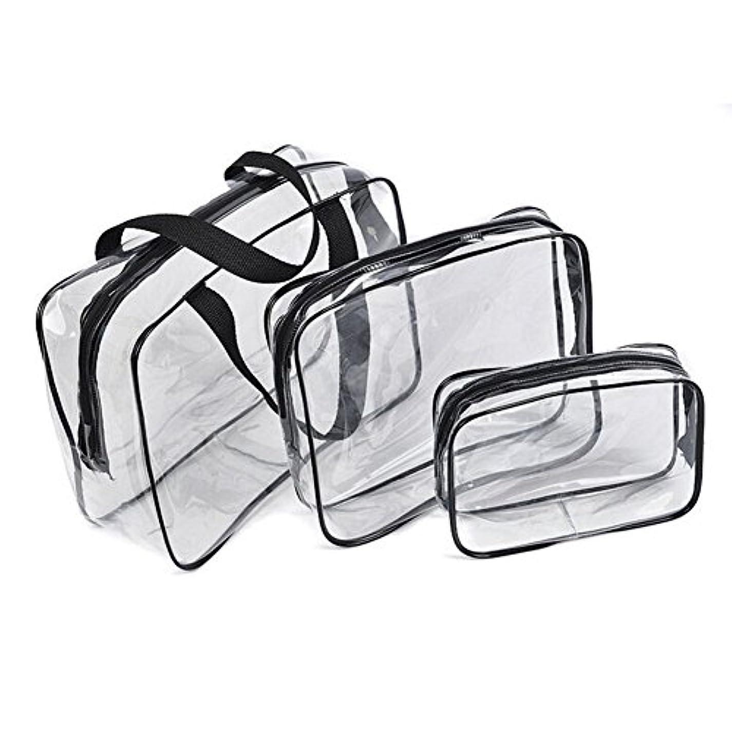 スケッチ意味のあるジョグ化粧品袋,SODIAL(R)ホット 3透明な化粧バッグ PVC旅行用 ウォッシュ化粧ポーチ(黒)
