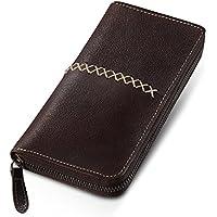 財布 メンズ 長財布 本革 牛革 大容量 カード12枚収納 ボックス型コインケース 紳士長財布 ラウンドファスナー ロングウォレット 手触り良い 男女兼用 自分用もプ用も最適 Box付き