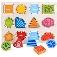 HuaQingPiJu-JP 子供のための木製の就学前の幾何学的形状のパズルボード教育パズル