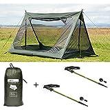 DD SuperLight A-Frame Mesh Tent & DD Hiking Pole x 2本セット 超軽量 簡単にパッキングできる メッシュテント [並行輸入品]