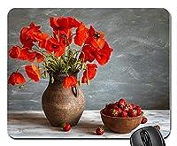 赤いケシの花の花瓶イチゴのボウルカスタマイズされたマウスパッド長方形マウスパッドゲーミングマウスマット