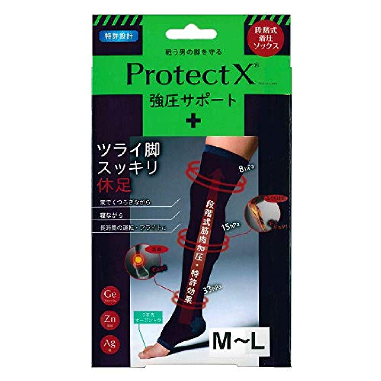 急行するかみそり露Protect X(プロテクトエックス) 強圧サポート オープントゥ着圧ソックス 膝上 (膝上M~L)