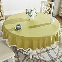 ラウンドテーブルクロス、牧歌的な厚手コットンリネンやけど防止抗シワキッチンコーヒーテーブルレストランの装飾に適して (色 : E, サイズ さいず : 70'' Round)