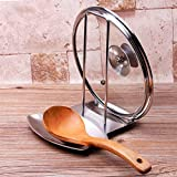 iPstyle Pan Lid Holder for Pots and Pans Progressive Lid and Spoon Rest Shelf 304 Stainless Steel Pan Lid Organizer Kitchen Decor Tool (Holder)