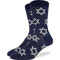 Good Luck Sock Men's Star of David Crew Socks - Blue, Shoe Size 7-12