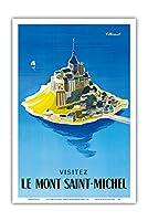 モン・サン・ミッシェルをご覧ください - ノルマンディー、フランス - ビンテージな世界旅行のポスター によって作成された ベルナール・ヴィユモ c.1955 - アートポスター - 31cm x 46cm