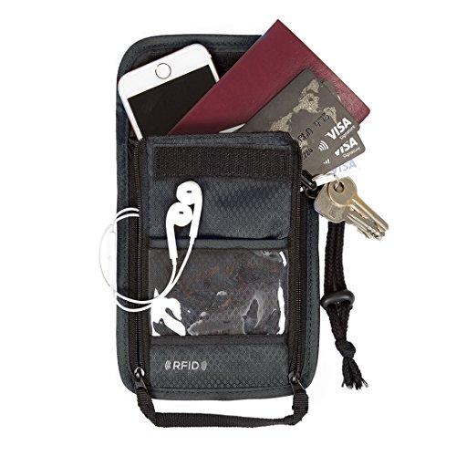 (バッグスマート)BAGSMART ネックポーチ スキミング予防対策 セキュリティネックワレット 貴重品入れ パスポートケース 防犯用品 ショルダーワレット 海外旅行グッズ グレー プレゼント ギフト