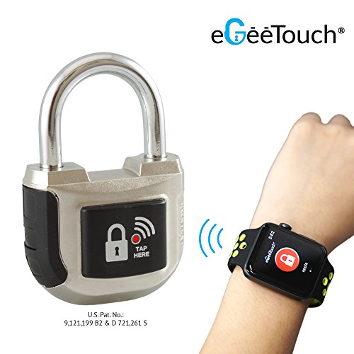 eGeeTouchスマートパッドロック第2世代 インドアでも使える南京錠 スマホやスマートウォッチで鍵や暗証番号不要 アンドロイド・iOSに対応