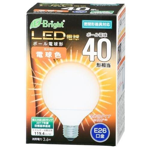 ボール電球形 E26 40形相当 電球色 3.6W 430lm 全方向 127mm OHM 密閉器具対応 LDG4L-G AG22 06-3376