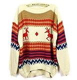 ノルディック ニット セーター かわいい 鹿柄 ゆったり 暖かい おしゃれ カラフル カジュアル (アイボリー)