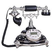 電話Vintage Craft Phones家庭用固定電話ビジネスオフィス固定電話25 * 24 * 24cm(3色展開) (色 : ブラック)