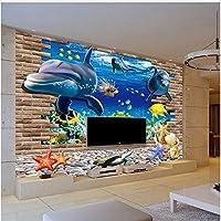Xbwy Hd水中世界イルカ壊れた壁写真壁紙リビングルームテレビソファ背景壁画家の装飾-280X200Cm