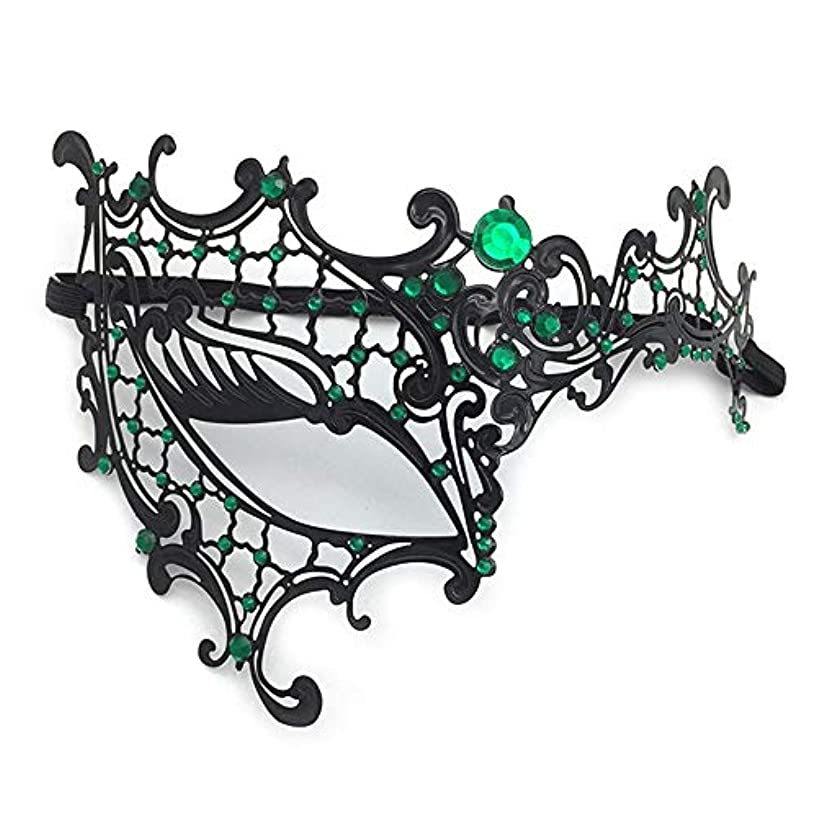 影のある私のペインティングダンスマスク ハーフフェイスワンアイメタルダイヤモンドアイアンマスク女性の女の子の美しさの女性パーティーパフォーマンス仮面舞踏会マスク女性 ホリデーパーティー用品 (色 : ブラック, サイズ : 18x13cm)