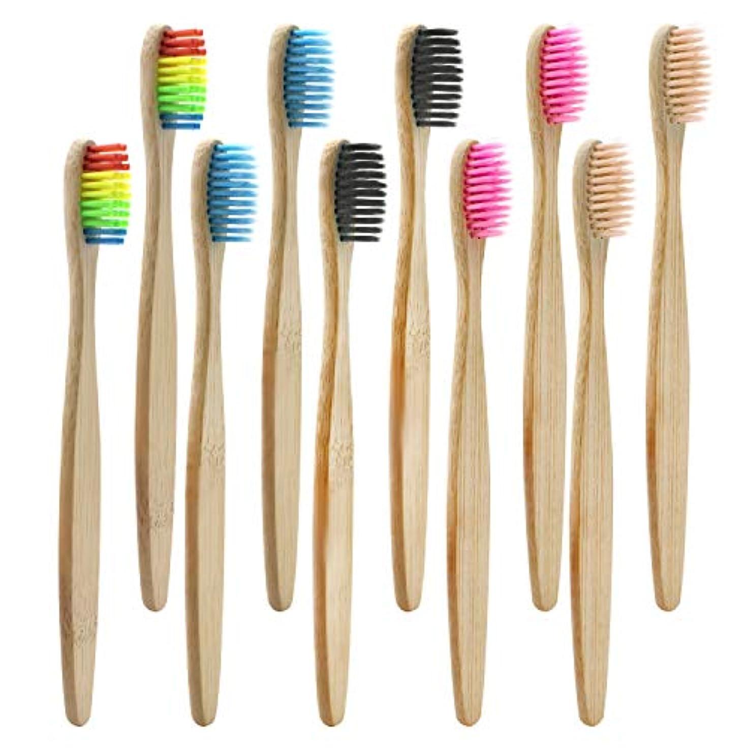 見つけたピックタップDracarys 竹製の歯ブラシ 10本入れ(5色各5本) やわらかめ 細毛 エコ歯ブラシ 自然分解される環境に優しい竹製歯ブラシ 家庭用 旅行用