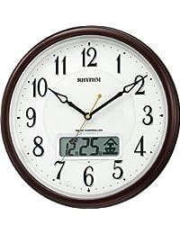 リズム時計 掛け時計 電波 アナログ ピュアカレンダーM03SR 暗所 ライト 自動 点灯 カレンダー 付き 茶 RHYTHM 4FYA03SR06