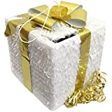 Christmas Gift Box Pull Strings Pinata Colour White & Gold Bow