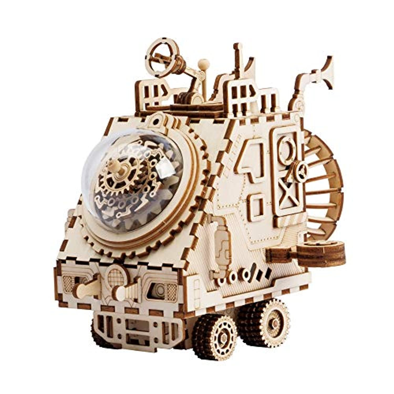 Zhenyu DIY 3D 可動式 スペースシップパズル 組み立て木製モデル おもちゃ 子供 女の子 男の子 脳 トレーニング オルゴール ギフト