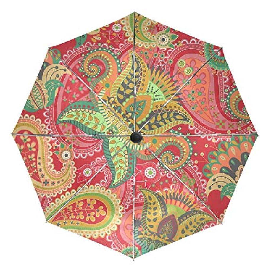 優雅うなる傘 自動傘 丈夫 台風対策 雨傘 日傘 エスニック柄 カラフル 三つ折り傘 日よけ傘 日焼け止め 折りたたみ傘 UVカット 紫外線カット 自動開閉 晴雨兼用 梅雨対策