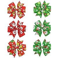 Youkara クリスマス ヘアピン 子供 ヘアクリップ ベビー リボン クリップ ギフトにぴったり 理想的な子供ヘアバンド 誕生日 プレゼント 6色をミックス (D)