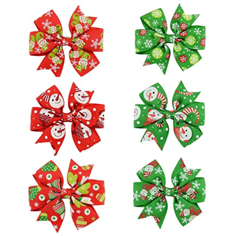 hosaire 6個クリスマスヘアリボンクリップBaby Girlsグログランリボンブティックヘアワニクリップfor Teens Kids Toddlers