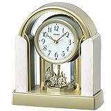 セイコー クロック 置き時計 電波 アナログ 回転飾り アイボリー マーブル 模様 BY236G SEIKO