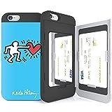 iPhone6S ケース 《SKINU》 キースへリング・KEITH HARING・カード収納可能・衝撃吸収抜群・傷防止・ミラー付き・スタンド機能・ICカード/クレジットカード完璧収納 (Couple Blue)