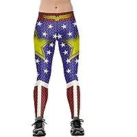 Xize Women 3D Printed Wonder Workout Fitness Leggings Slim Yoga Pants High Waist Gym Running Sport Push Up Tights