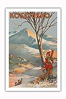 マウント Kosciuszko、オーストラリア - スキー - ビンテージな世界旅行のポスター によって作成された Geo. E. (ジョージ・アーネスト) アキンヘッド c.1925 - プレミアム290gsmジークレーアートプリント - 61cm x 91cm