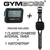 Gymboss 2アイテム バンドルパッケージ: Gymbossインターバールタイマーとストップウォッチ1個 + Gymbossウォッチストラップ1本(ブラック本体にブルーのボタン付き、フリーサイズ)
