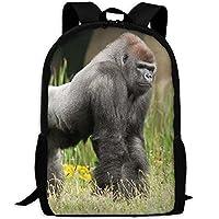cananhjs Gorilla in the Green Grass Art Print Laptopバックパック, Great for High School、カレッジバックパック、スクールバッグ、ビジネスバックパック、旅行パック、ラップトップスリーブ、男性女性、