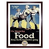 Propaganda War Wwi USA World Food Garden Farm Art Print Framed Poster Wall Decor 12X16 Inch 宣伝戦争アメリカ合衆国世界フード庭園ファームポスター壁デコ