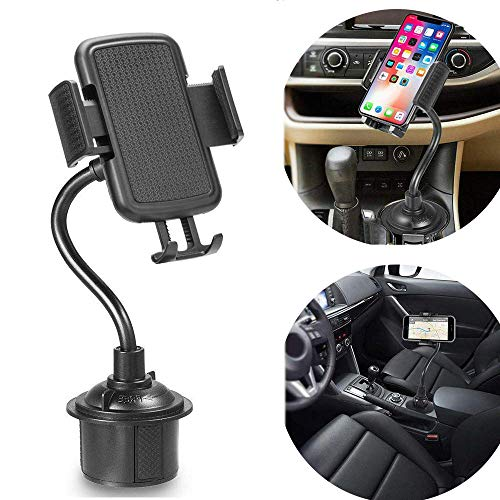 Winique スマホ車載ホルダー ドリンク カップ ホルダー 携帯電話スタンド ユニバーサルグースネック 拡張ベース 360度回転可能 片手操作取 り付け簡単 iPhone/Samsung Galaxy/Sony/LG/HTC/GPS多機種対応