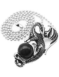 【ノーブランド 品】黒い宝石付き ステンレススチール ドラゴン形の ペンダント チェーンネックレス