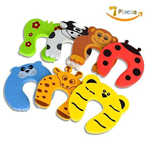 LANIAKEA ドアストッパー 指を挟むこと防止 キュートな 動物たちの ドアストッパー 7匹セット 子供好き