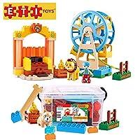 ETI Toys 74ピース バブルアニマルサーカスビルディングブロック; カーニバル、フェリスホイール、サイドショウズループを構築。 100%無毒、クリエイティブなスキル開発。 3歳、4歳、5歳の男の子と女の子に最適なギフトです。