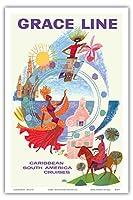 カリブ海 - グレースライン - 南米クルーズ - ビンテージな遠洋定期船のポスター によって作成された デイヴィッド・クライン c.1962 - アートポスター - 31cm x 46cm