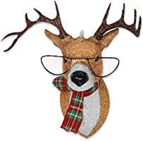 kat + annie Ornament Glittered Reindeer with Glasses, Red, Green, Bronze