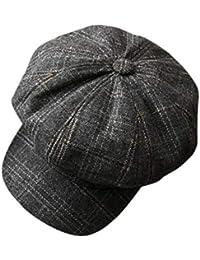 Fashion maker(F&M) ベレー帽 メンズ 帽子 チェック柄 男性用 キャップ 小顔効果 ファッション カジュアル おしゃれ 全4色 フリーサイズ