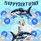 サメパーティー装飾 男の子誕生日 BABY SHARK DOODOO ベビーシャワー ブルー系 可愛い 動物 海 サメアルミバルーン バナー ケーキトッパー 風船 34個