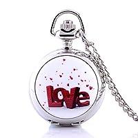 Love Heat ( Smallサイズ)アンティークスチームパンクスカルヴィンテージPocket Watchクォーツネックレスチェーンギフトレトロ