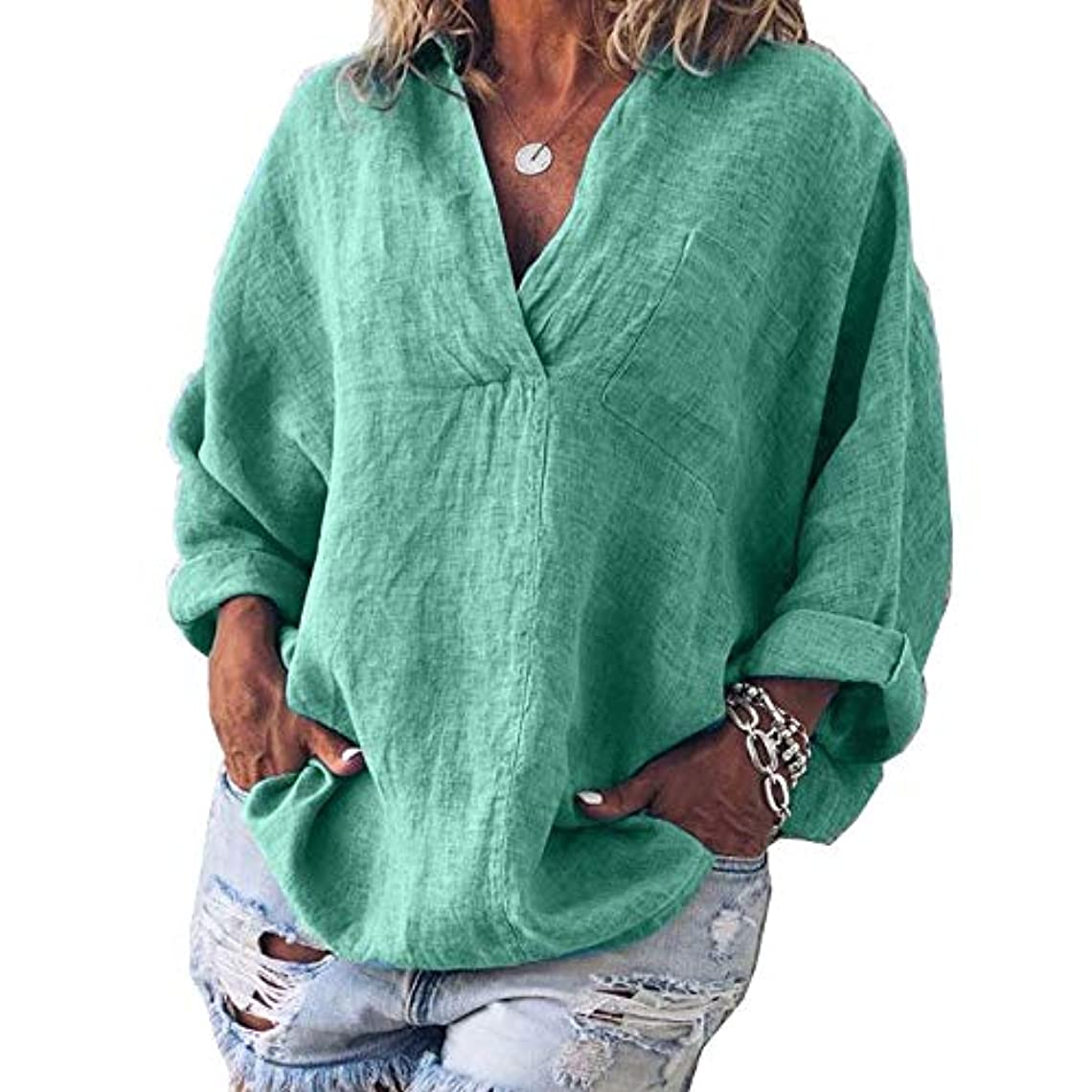 運搬不幸手錠MIFAN女性ファッション春夏チュニックトップス深いVネックTシャツ長袖プルオーバールーズリネンブラウス