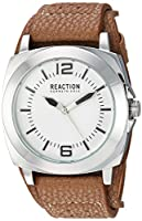 Kenneth Cole Reaction男女兼用rk1330 Street Silver Case Silver Dial Brown Biker Cuff Strap Watch